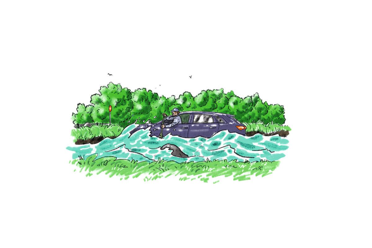 HOVEDFARTSÅRE: Det tegner til å bli en ny sommer med norgesferie i bil. Kjør pent! Fortrinnsvis på vegen. Illustrasjon: Didrik Magnus-Andresen