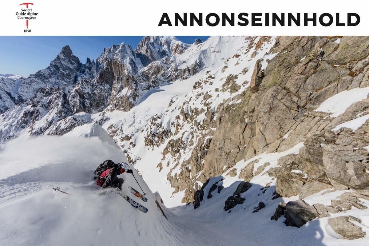 Tof Henry, skilegenden fra andre siden av tunnellen, utforsker en renne over Courmayeur. Foto: Arthur Gillini