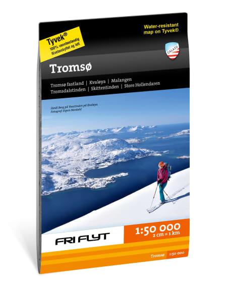 Kart for Tromsø og Troms 1:50.000 fra Fri Flyt og Calazo. Med inntegnede ruter fra Espen Nordahl sin bok Toppturer i Troms!