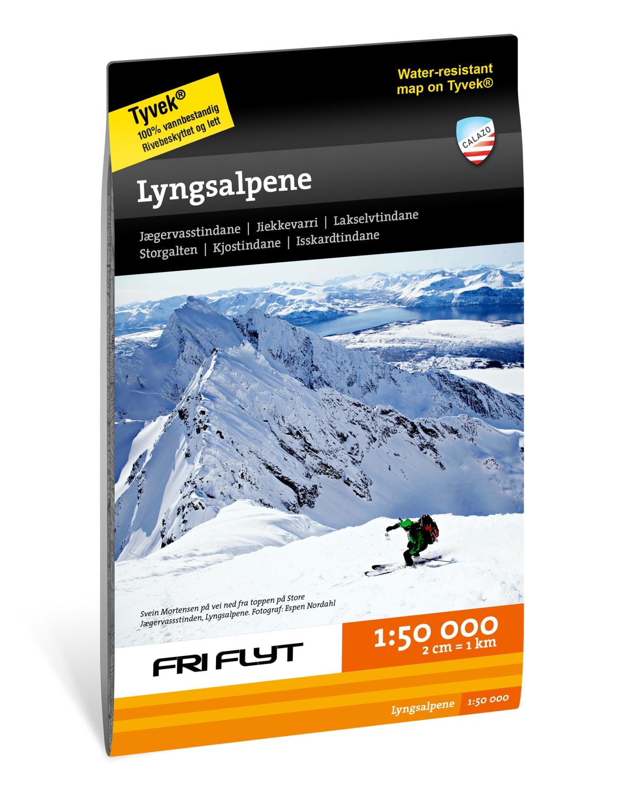 Kart for Lyngsalpene og Lyngen 1:50.000 fra Fri Flyt og Calazo. Med inntegnede ruter fra Espen Nordahl sin bok Toppturer i Troms!