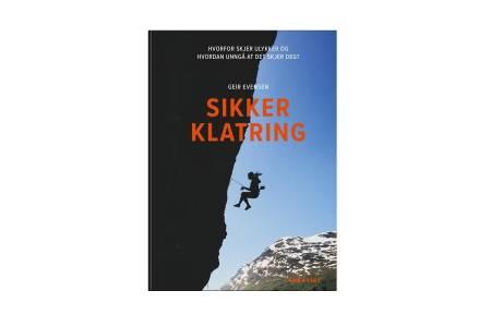 Sikker klatring av Geir Evensen på Fri Flyt forlag - den store guiden til sikkerhet for klatrere! Forsidefoto har forfatteren selv tatt på Beachen i Stryn
