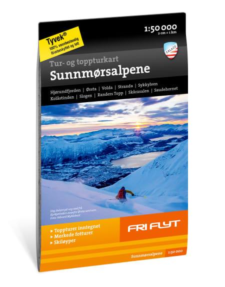 Tur- og toppturkart for Sunnmørsalpene i 1:50.000. Kommer med inntegnede ruter fra Fri Flyt sin guidebok for Sunnmørsalpene!