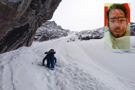 KVESTET: Den erfarne og dyktige frikjøreren Erik Finseth (innfelt) fikk seg en støkk i skredulykken i Troms sist helg. Det store bildet viser Steinar Aarberg på vei opp i terrenget hvor skredet løsnet, i flanken over renna. Begge foto: Eirik Finseth
