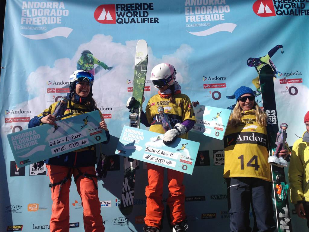 PÅ PALLEN: Tone Jersin Ansnes (til høyre) ble kun slått av svenske Lotten Rapp og franske Chloe Roux Mollard, som vant konkurransen i Andorra.
