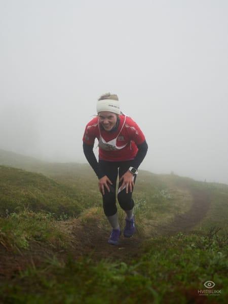 Andre plass i dameklassen, og arrangør av løpet; Jeanette Gundersen. Foto: Timme Ellingjord.