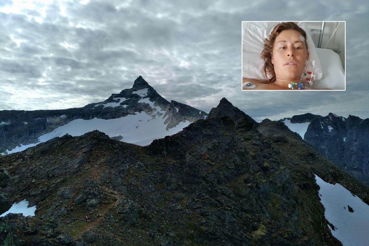 FALT:  Hillary Allen (innrammet) falt 30 meter på vei mot Hamperokken (bildet). Foto: Tromsø Skyrace