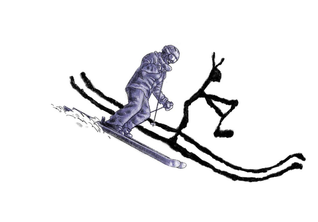 EN HYLLEST TIL GAMMALT RÆL: Tenk at en 20 000 år gammel kinesisk genistrek er overlegen all moderne teknologi i kunsten å ferdes i bratt og snødekt natur? Illustrasjon: Didrik Magnus-Andresen