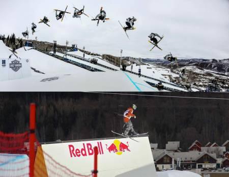 UELEGANT SAMRØR: X Games med Nick Goepper og trippelcorks (over) og VM i slopestyle med blant andre Noah Wallace (under) ble arrangert samtidig i år, og alle er enige om hva som er den råeste konkurransen. Det burde Det Internasjonale Skiforbundet tatt konsekvensen av. Foto: ESPN/ Christian Pondella/ FIS