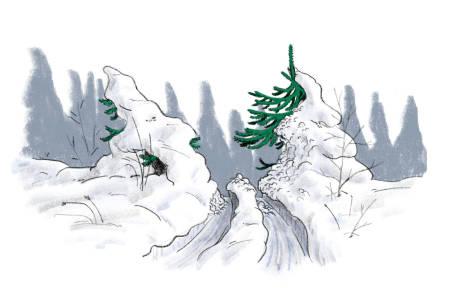 SKOGSLØYPE: Det var veldig oppklarende for den østlandsbaserte delen av redaksjonen å forstå at de vi kaller skogsløyper, kaller sørvestlendingene skitråkk. Illustrasjon: Didrik Magnus-Andresen
