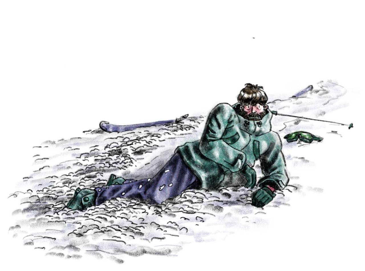 SOLOSPILL: Er det de introverte eller ekstroverte som er best på ski? Illustrasjon: Didrik Magnus-Andresen