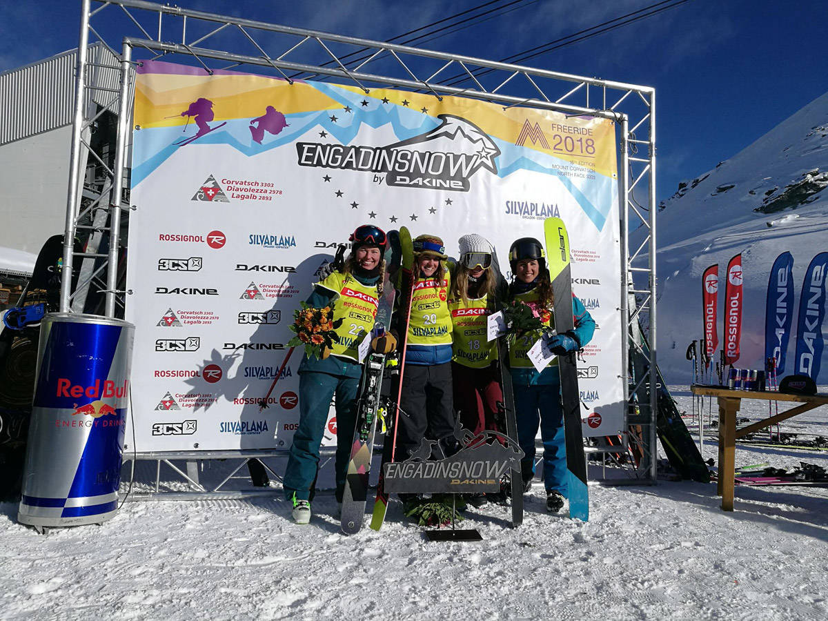 PÅ PALLEN: Lisen Strøm (til venstre) ble nummer to i FWQ-konkurransen i Engadin i helgen, Foto: Ida Gunleiksrud
