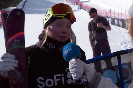 FALT: Johanne Killi falt på det siste hoppet. Foto: Skjermdump