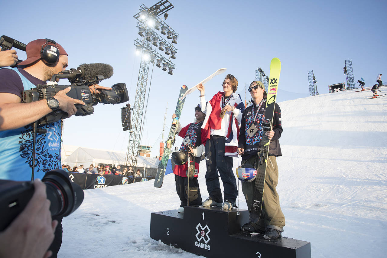 GULL OG BRONSE: Birk Ruud tok gullmedalje for Norge i mai. Totalt har Norge 79 medaljer i verdens største actionsportevent. Foto: Kalle Hägglund