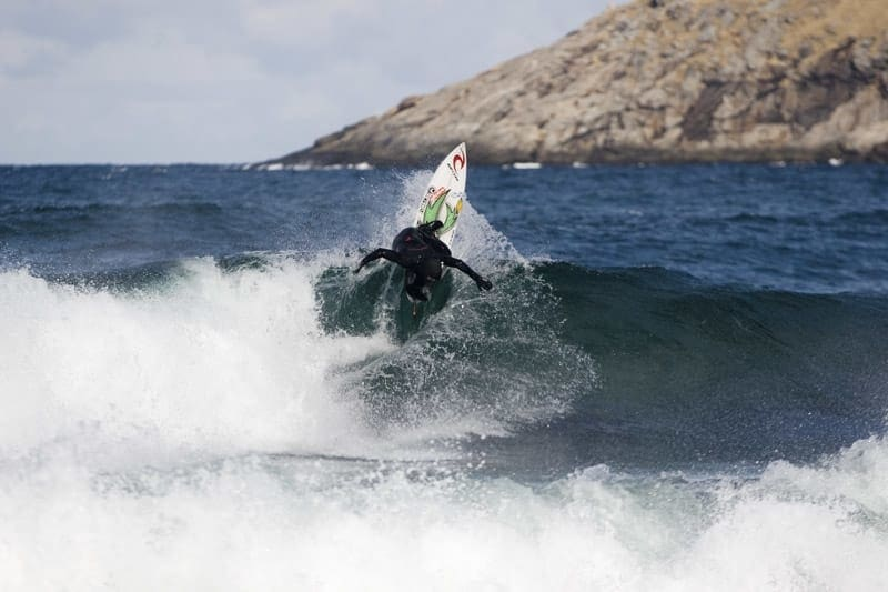 UNSTAD: Pablo Gutierrez i aksjon på bølgene på Unstad under Lofoten Masters i 2012. Arkivfoto: Christian Nerdrum