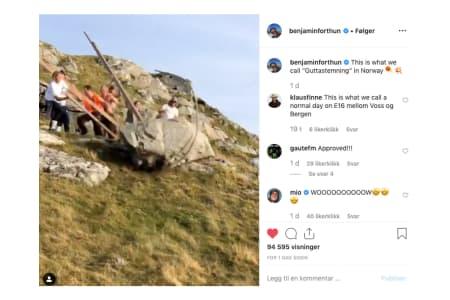 FÅR KRITIKK: Benjamin Forthun og kompisgjengen har fått kritikk etter denne Instagram-posten. Foto: Skjermdump/Instagram