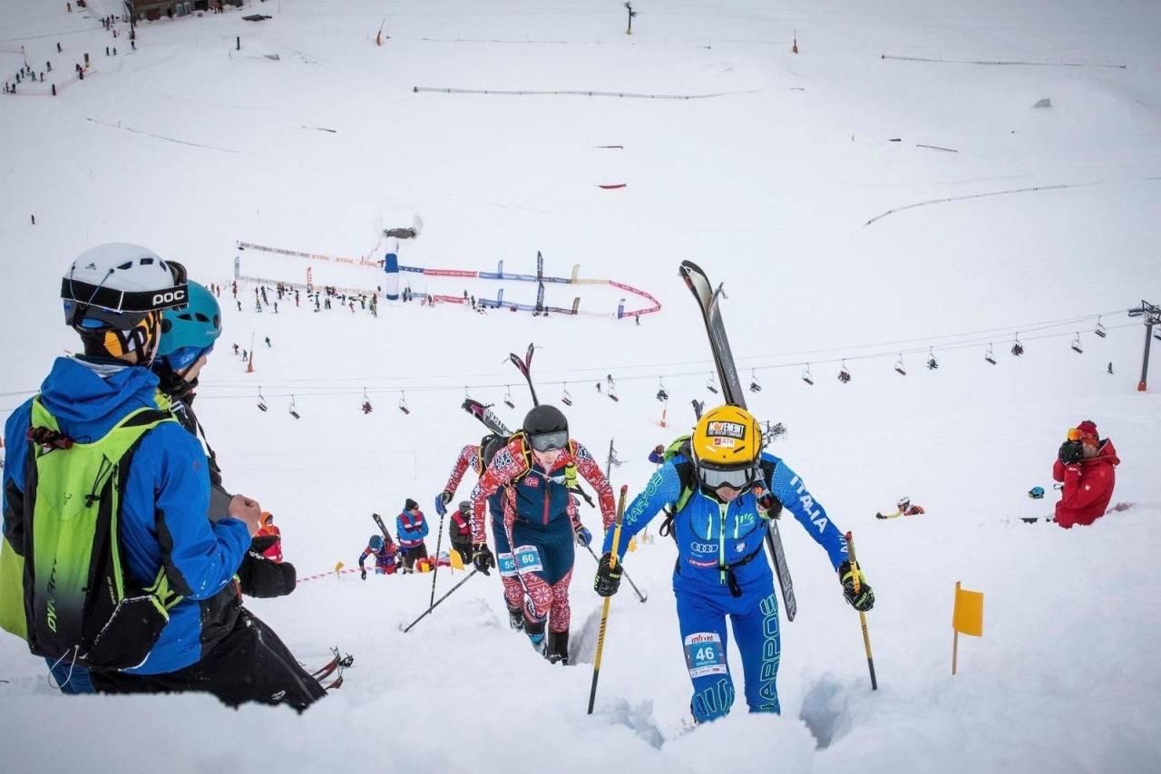 Hans-Inge Klette (60) og Vegard Øie (55) under lørdagens individuelle konkurranse i verdenscupen i randonee i Andorra. Foto: Maurizio Torri