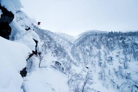CATSKIING: Raudalen kan få catskiing allerede denne vinteren. Her fra da Torgrim Vole testet skianlegget i 2015. Foto: Vegard Breie