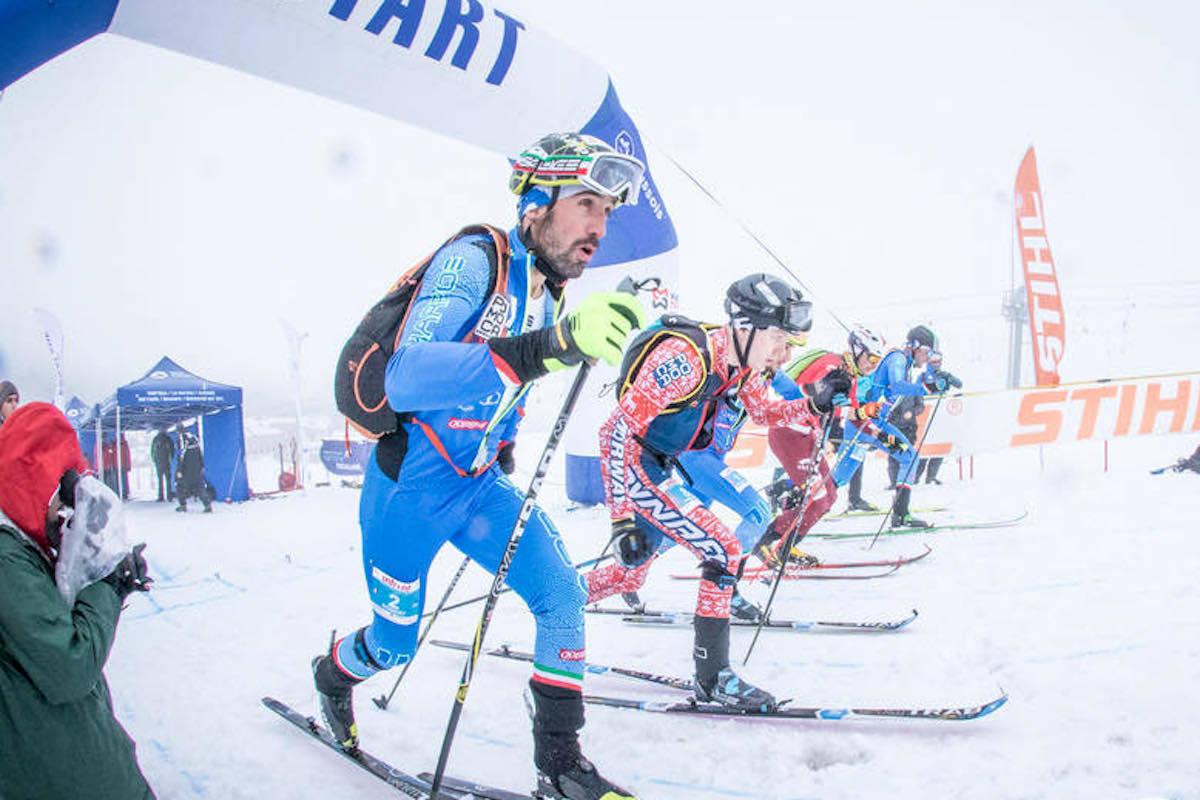 Hans-Inge Klette (midten) tok sin første verdenscupseier i randonee på lørdagens sprint i Aussois i Frankrike. Foto: Sportdimontagna