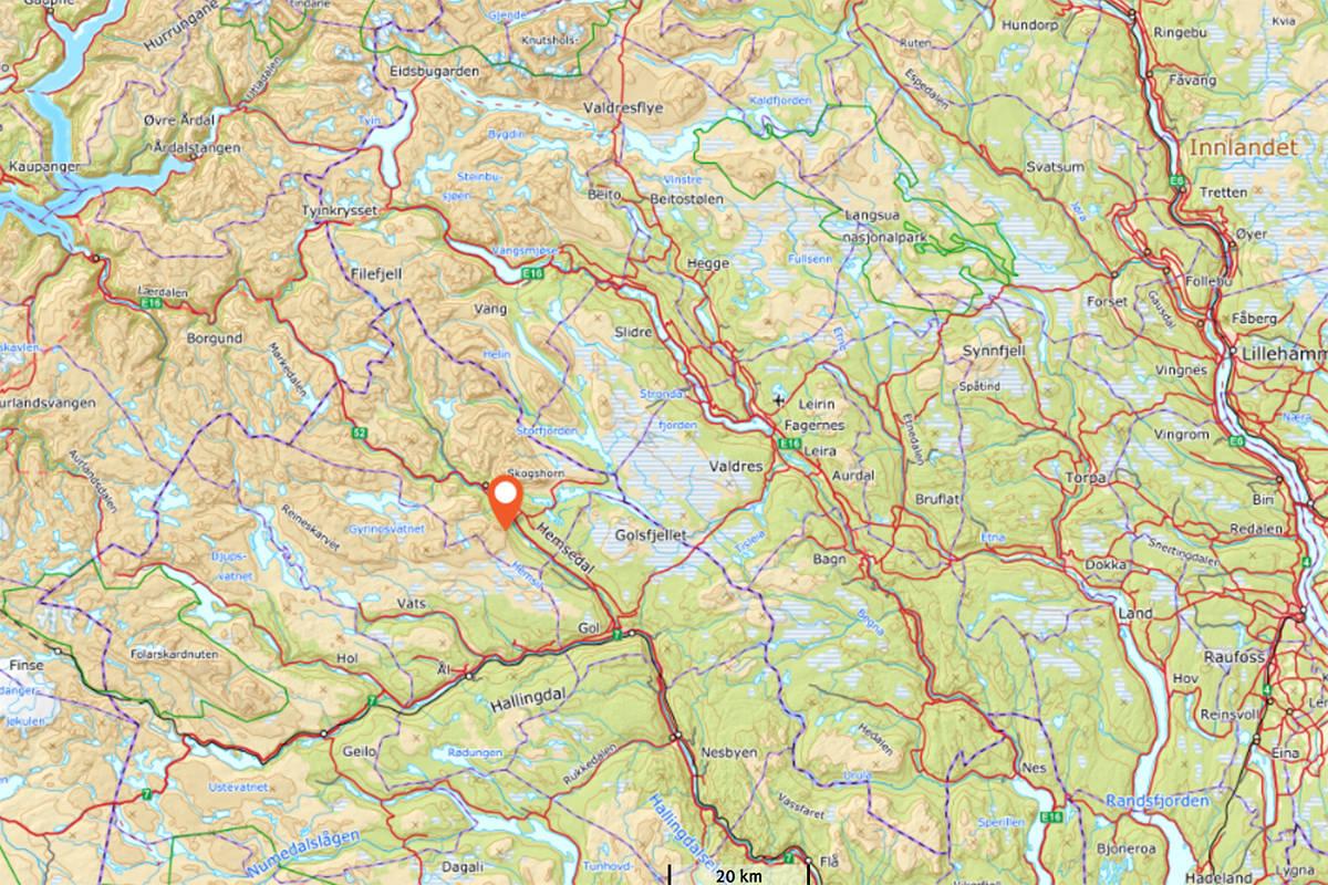 HEMSEDAL: Ulykken skal ha skjedd ved Hydnefossen i Hemsedal. Foto: Norgeskart