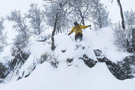 HODLEKVESKOGEN: Slik så det ut i Hodlekve i helga. Her nyter Viktor Persson nysnøen. Foto: Bård Basberg