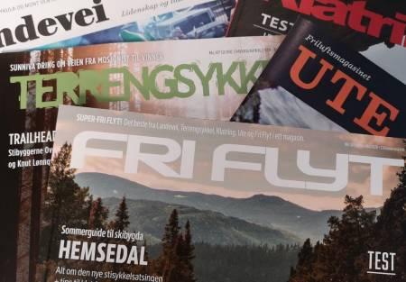 SLÅTT SAMMEN: Fem titler, ett felles magasin. Fri Flyt på print vil nå bestå av et beste fra Fri Flyt, Landevei, Ute, Terrengsykkel og Klatring.