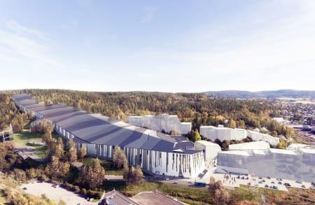 INNENDØRS: Skisenteret på Lørenskog blir innendørs. Nå kommer det også hotell for gjestene. Illustrasjon: Snø