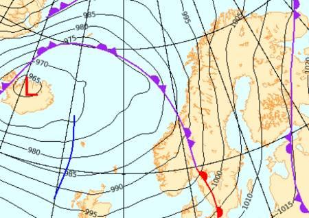 LURER I ATLANTEREN: Et lavtrykk på tur inn preger mye av været i Norge denne helga. Bilde: Screengrab fra yr