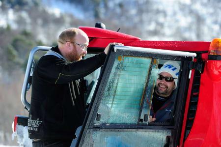 Parksjef i Oppdal Frode Norbeck (til venstre) og Laffa Mattsson har bygd utallige hopp og rails sammen. Her fra MegaPark i 2011.