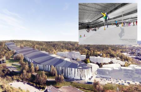 INNENDØRSARENA: Norges første innendørs skisenter åpner på Lørenskog i 2020. Her blir det både terrengpark og vanlige løyper – i tillegg til en hel del annet. Illustrasjon: Snø