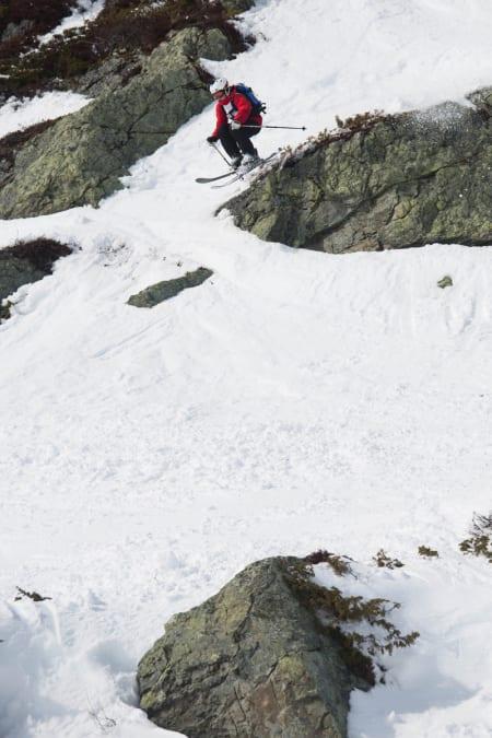 Erland Skogum fra Trollhø´e Høkkers kjørte kjempebra helt til han gikk på trynet og knakk bindingen.