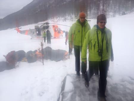 HENTET OMKOMNE I DAG: Redningsmannskaper har vært inne i Kannsdalen i dag, og funnet de fire savnede, omkommet. Foto: Tommy Fossum