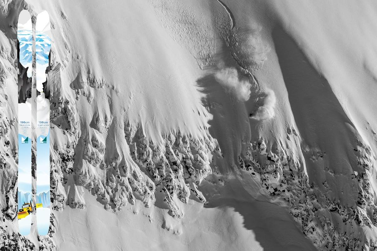PROMODELL: Asbjørn Eggebø Næss -her i aksjon på Soleibotntind i Hurrungane- har fått promodell hos SGN. Tunnelvisjon heter skia som lanseres i høst. Foto: Bård Basberg/ SGN