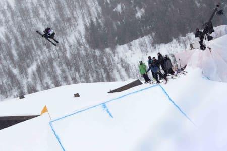 TRIPPEL RUUD: Birk Ruud var suveren i dagens renn i Myrkdalen. Bildet er fra gårsdagens renn på samme sted. Bilde: Cristopher Frankum/Skiforbundet