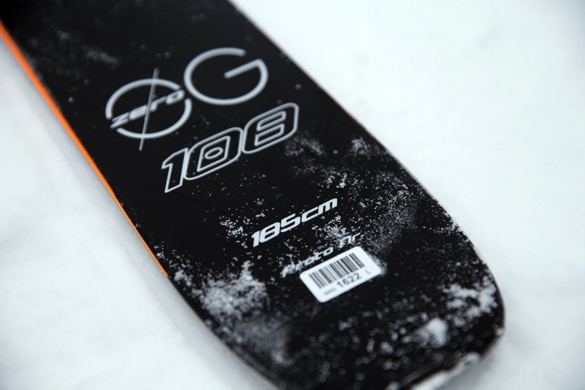 PÅ G: Den breieste skia i Blizzards nye toppturserie ZERO G er 108 mm på midten, og veier inn på småpene 1750 gram i lengde 185 cm. Foto: HP Hval