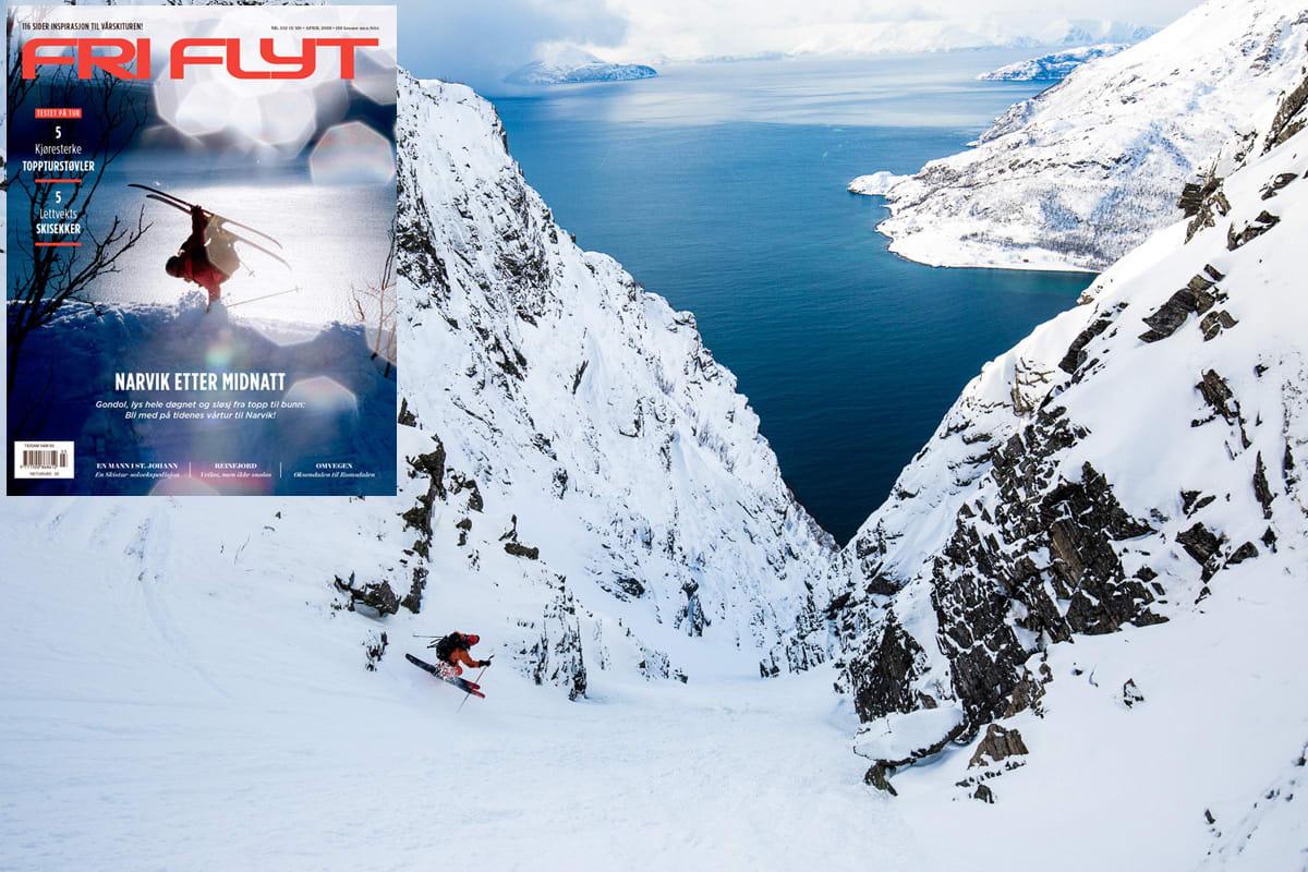 FJORDGLØTT: Fra Innernesfjellet tar Mikko Lampinen snarvegen ned til Reinfjord med utsikt mot Kvænangen og Arnøya - og den nyeste utgaven av Fri Flyt. Foto: Mika Merikanto