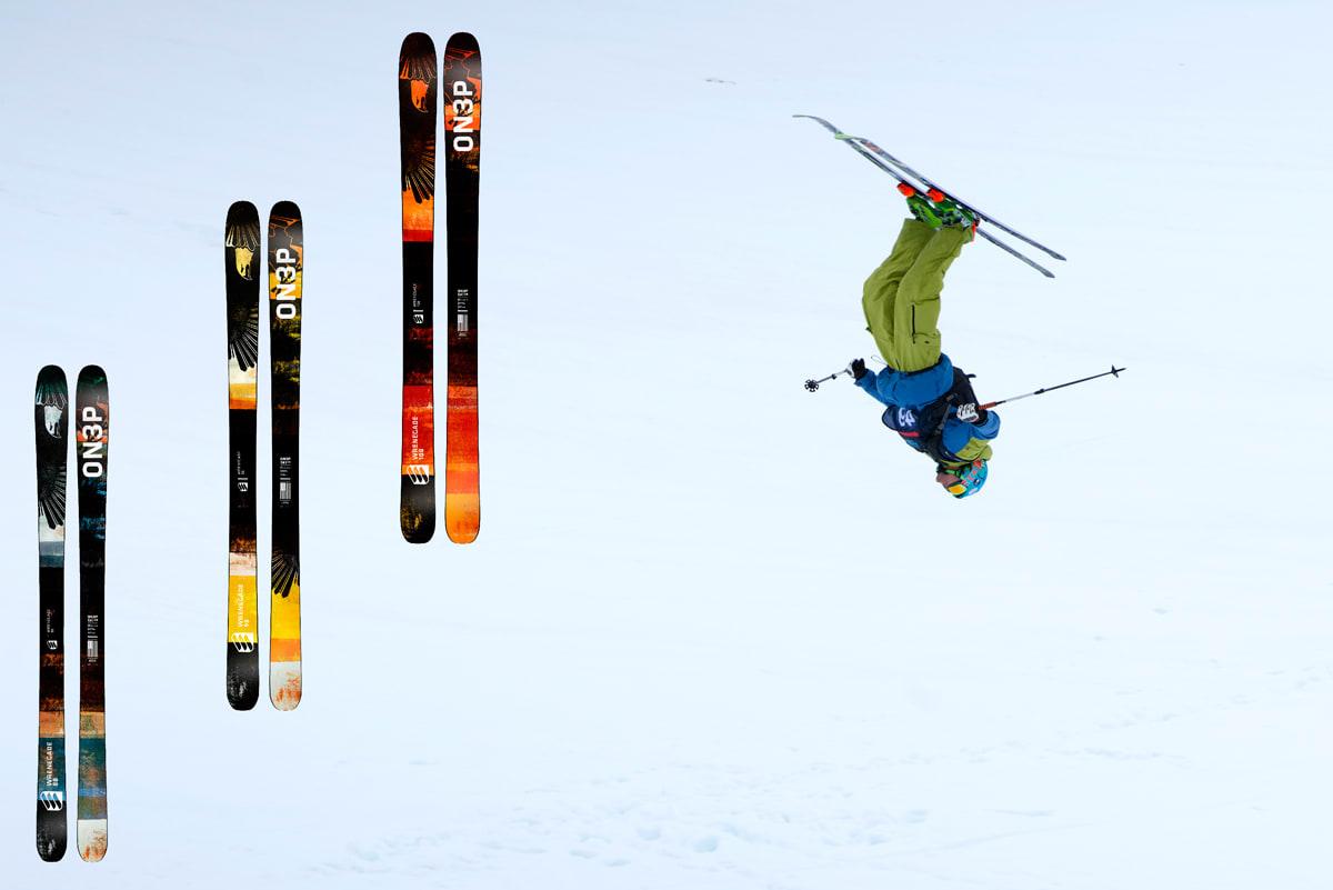 PROMODELL: Norges eneste skikjører i årets Freeride World Tour. Dennis Risvoll, får sin egen versjon av On3p-skia Wrenegade neste sesong -i 113 millimeters midtbredde. Foreløpig er det kun sluppet bilder av de tre smaleste modellene. Actionbilde: Martin I. Dalen