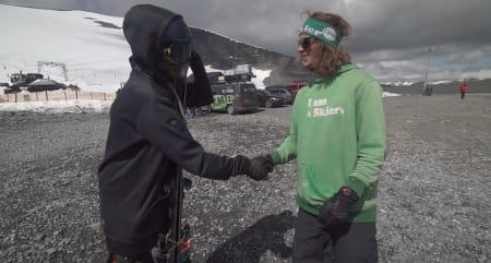 DA HAN MØTTE EVEN: Andy Parry møter Even Sigstad på Juvass.