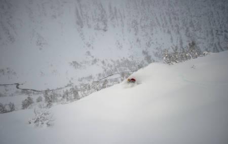 GOD RETNING: Åsmund Hårklau tar peiling mot riksveien og elva. I skogen nedenfor ham får du noen av Myrkdalens neste svinger. Foto: Sverre Hjørnevik