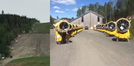 NYE KANONER: Oslo Vinterppark har oppgradert kunstsnøanlegget sitt for 26 millioner kroner foran kommende sesong. Foto: Oslo Vinterpark
