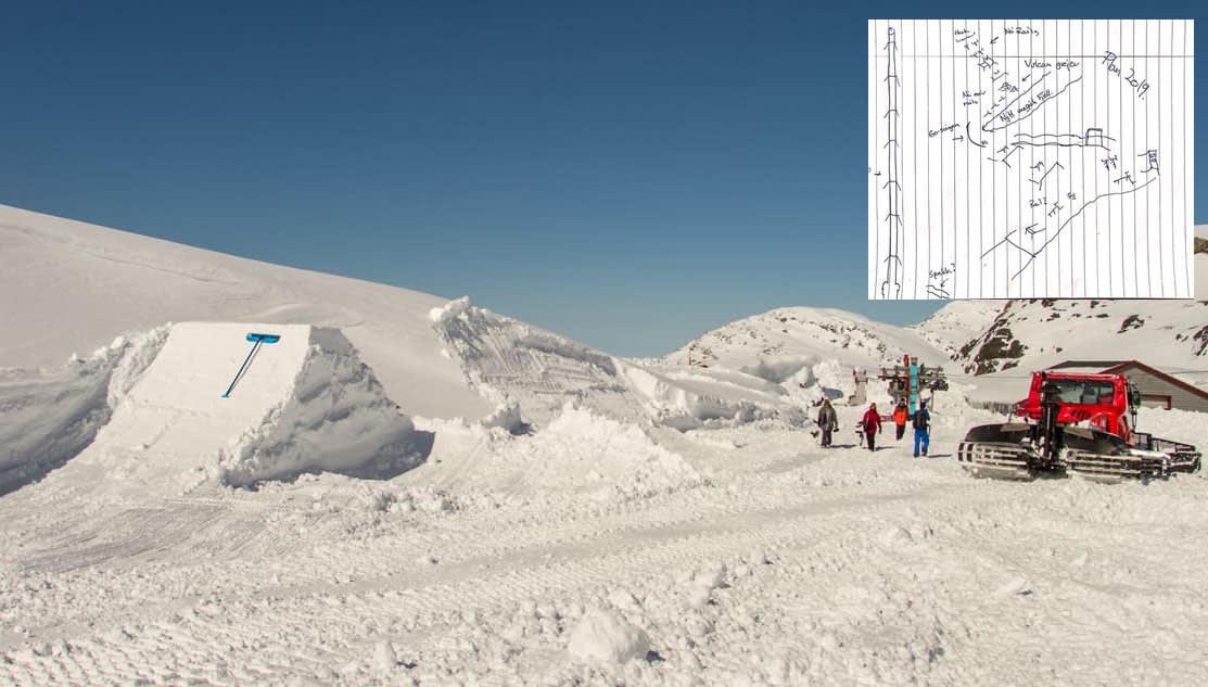 PARK TIL HELGA: Emil Fossheim og Mushroom Crew er i gang med parkbygging på Folgefonna, og lover flere elementer førstkommende helg. Men været er kinkig, og ikke som på dette bildet fra bygginga i 2015. Arkivfoto: Jan Petter Svendal