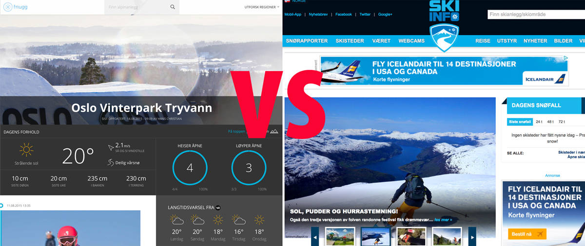 KONKURRENT: Fnugg kommer helt sikkert til å bli et supert verktøy for skikjørere i Norge -og de vil gjøre Skiinfo bedre. Men hvordan skal Fnugg styre skisentrenes markedsavdelinger som måler snødybde med hemsedalsmeter?
