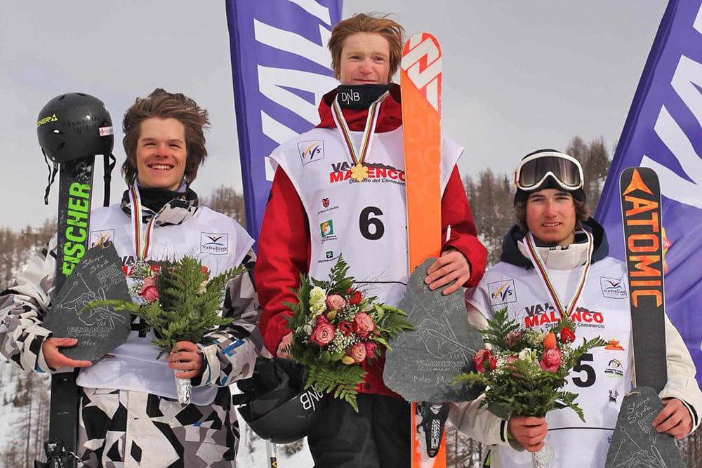 JUNIORVERDENSMESTER: Felix Usterud er verdens beste junior-slopestylejører! I dag vant han Junior-VM foran Brent Whipple og Luca Tribondeau. Foto: FIS