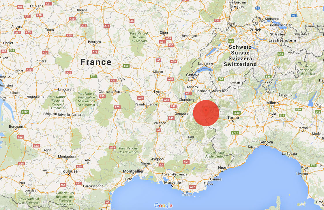 SKRED: Her gikk skredet mandag. Foto: Google Maps
