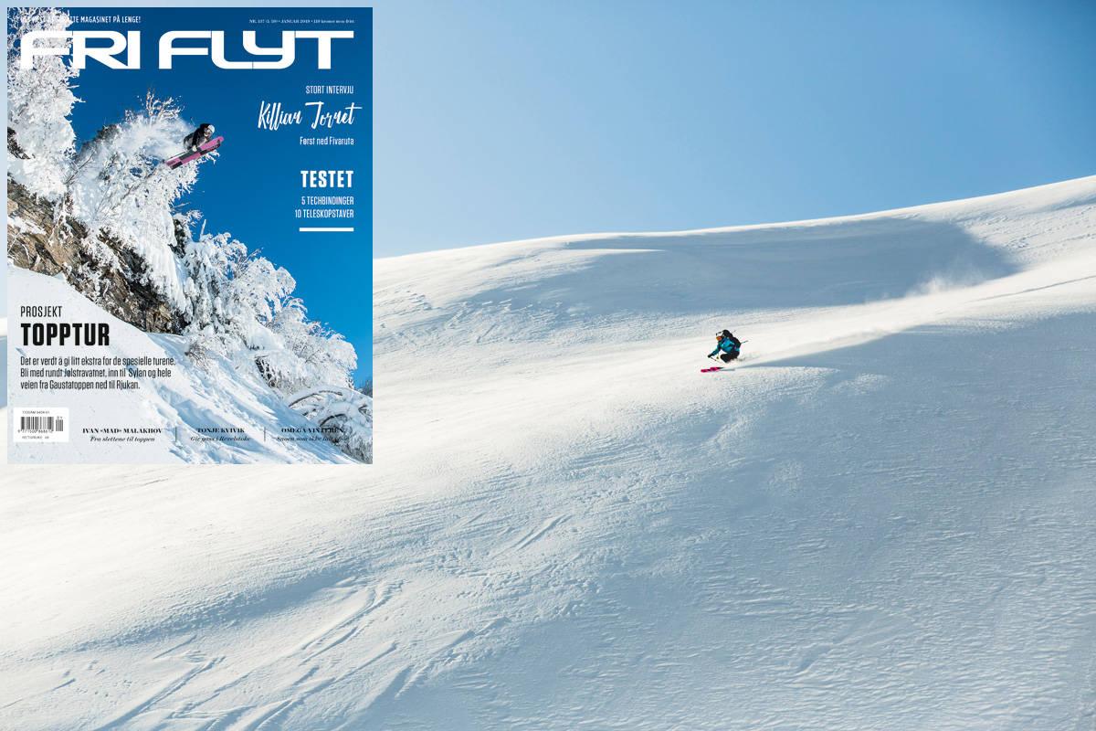NYTT NUMMER OG SPREK TUR: Vi feirer nyeste utgave av Fri Flyt og byr på historien fra den monumentale skituren rundt Jølstravatnet. Foto: Line Hårklau (Jølster) og Vegard Breie (Fri Flyt-cover)