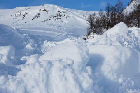 Skarbekkdalen. Omtrent der fotografen står er det populært å bygge step-up hopp. Det blir vanskelig denne vinteren.