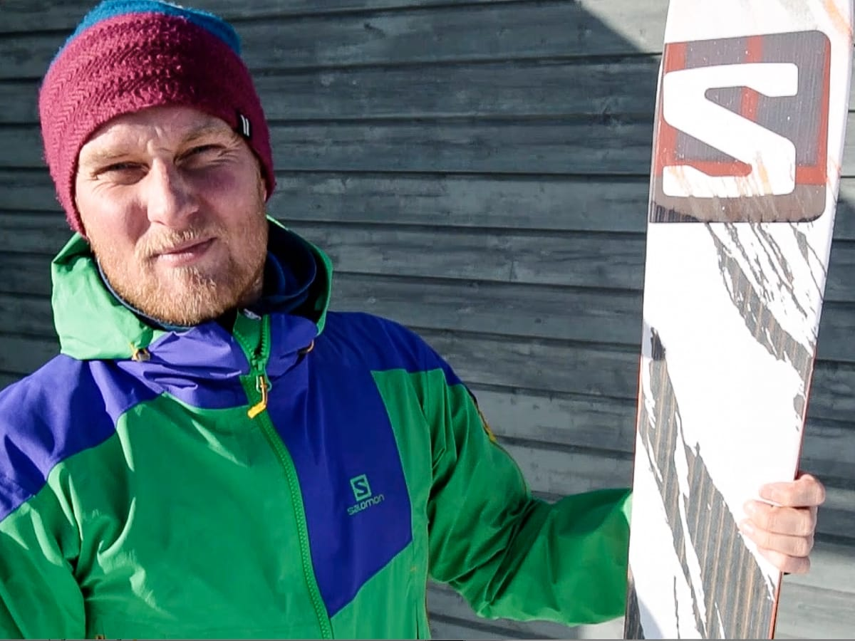 KLAR FOR 2015: Tim Molland fra Salomon Norge presenterer det nye toppturbeistet som er utviklet i samarbeid med Andreas Fransson og Greg Hill. Foto: Christian Nerdrum