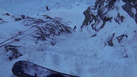 RIVSTART: Gjengen fant snø i ei renne fra Dyrhaugsryggen.