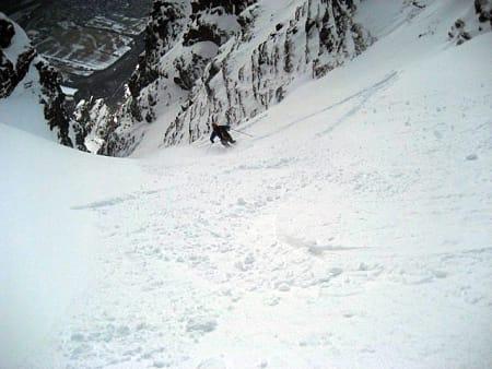 Even Valseth nyter god snø i topp delen av renna