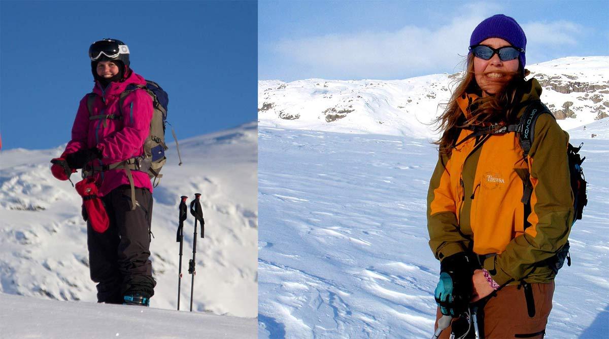 UNDERSØKER: Ragni Odeen (til venstre) og Victoria Rönnbäck har undersøkt skandinaviske frikjøreres holdninger til snøskred, og gjort flere interessante funn. Foto: Privat