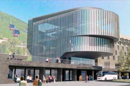 TERMINAL: Slik ser gondolbanen og terminalen ut nedenfra. Foto: Voss Resort